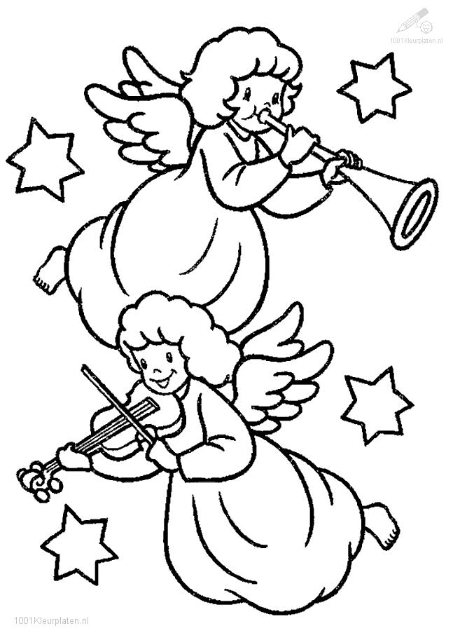 Coloring page with 2 cute angels