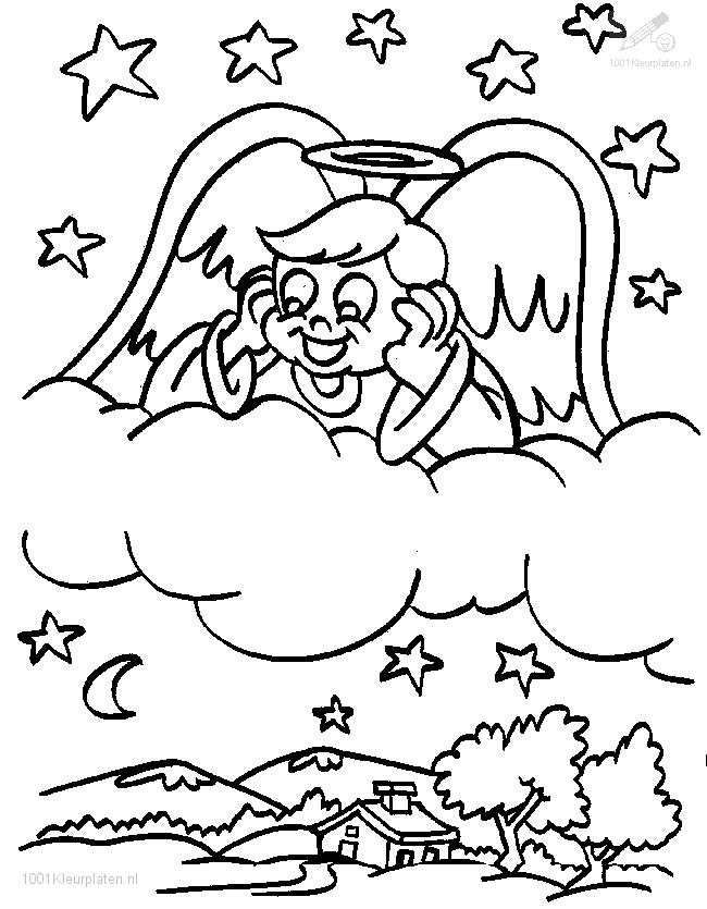 Coloring Page Angel looking down