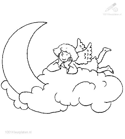 Coloring Page Angel on a Cloud
