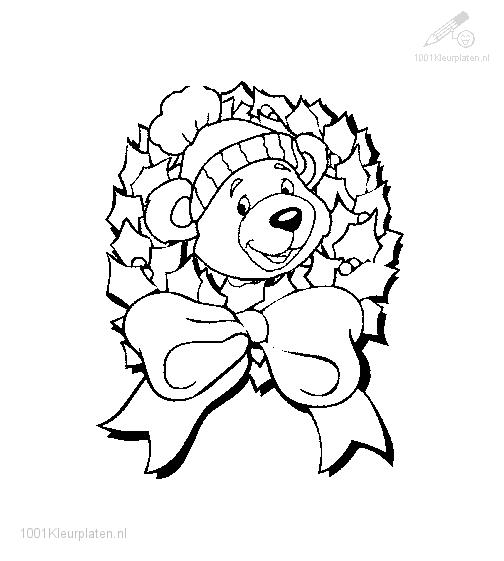 Coloring page bear christmas wreath