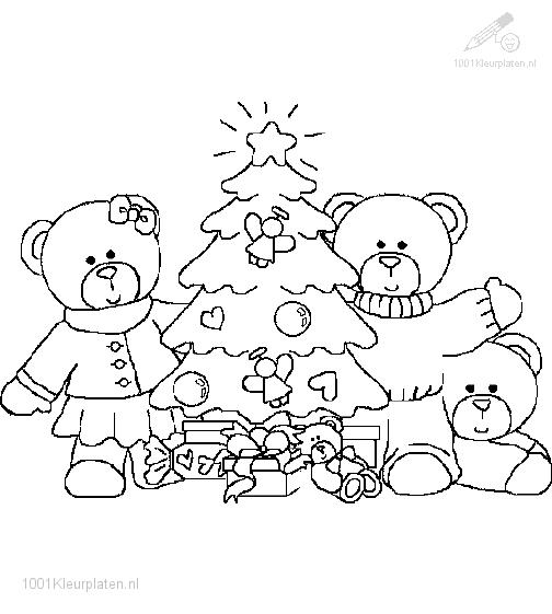 Coloring page bear family and the christmas tree