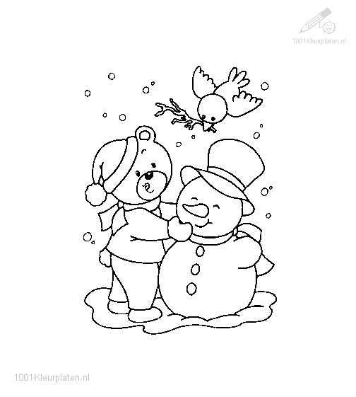 Coloring Page The Bear and his friend the Snowman