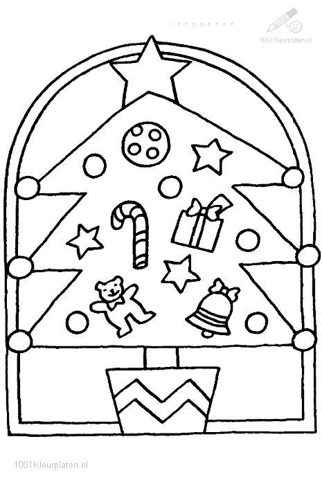 Coloringpage: christmas-tree-window-decoration