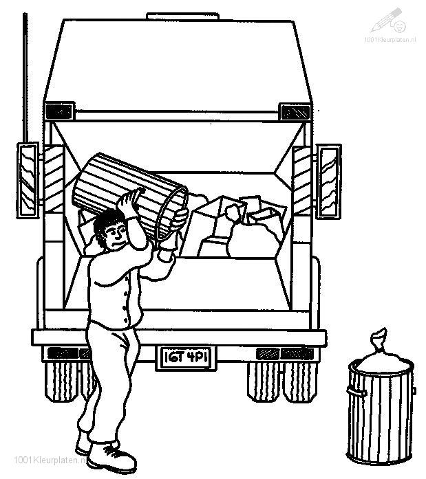 coloring page garbage man