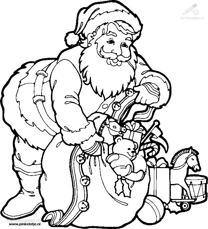 Coloring Page Santa Claus Santa Claus With Tree Coloring Pages