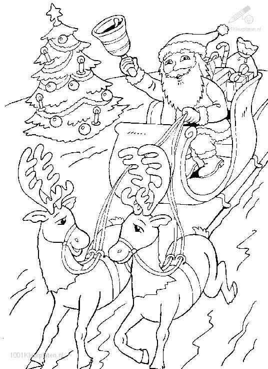 Coloring Page Santa Sled