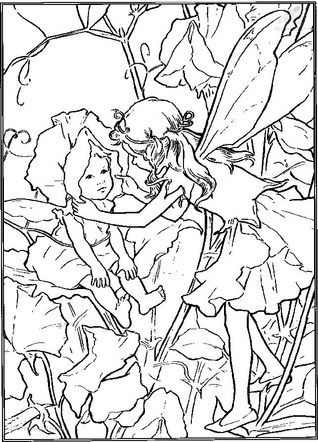 Coloringpage: elf-and-a-baby