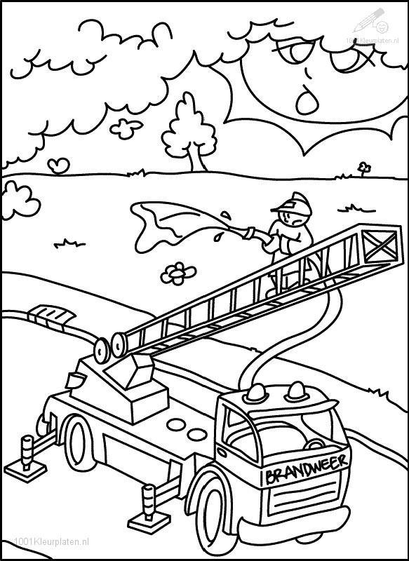 Fire department coloring page for Fire station coloring page