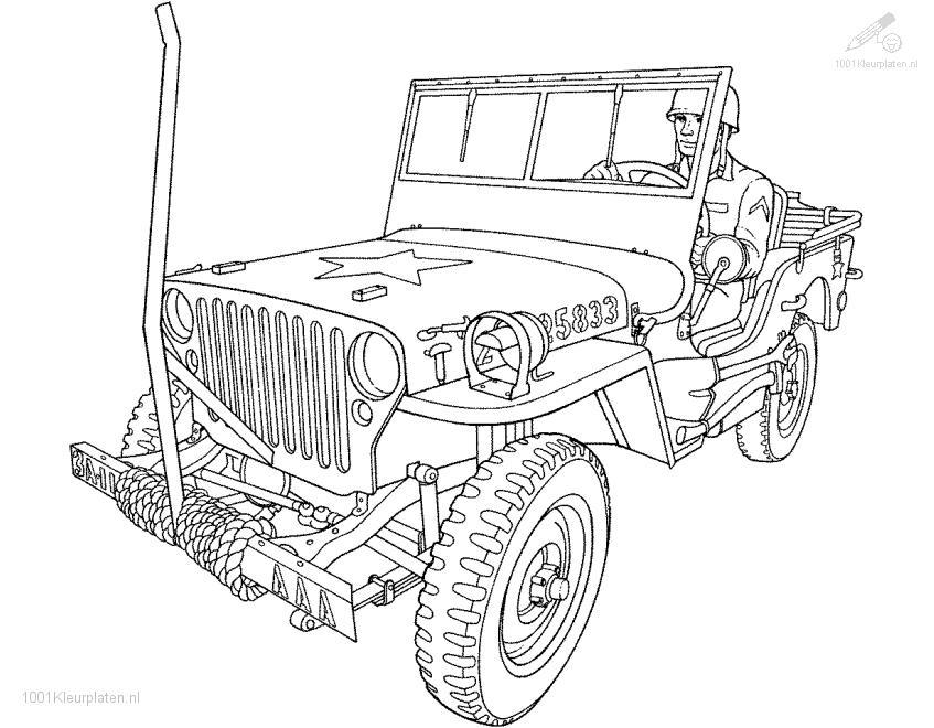 Army Jeep Coloring Page