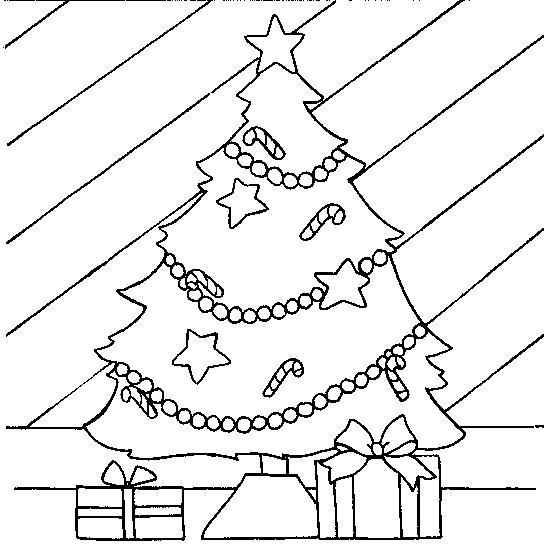 Present under the christmas tree coloring page
