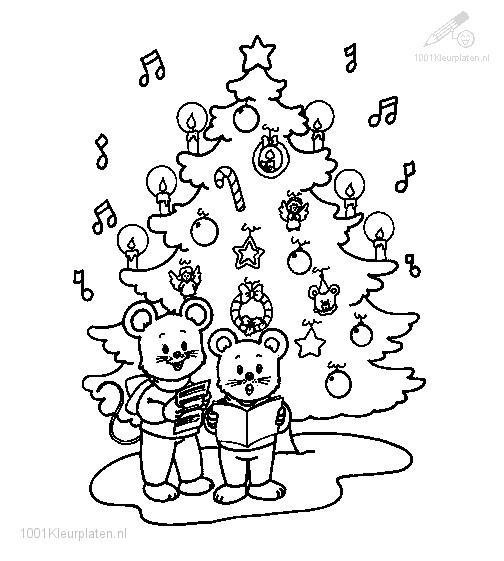 Coloringpage: singing-under-christmas-tree