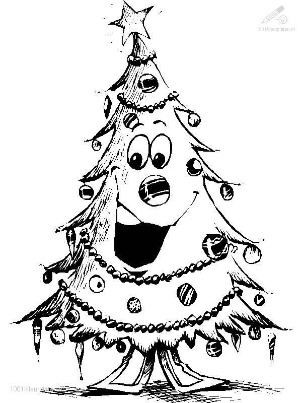 Coloring Page Smiling Christmas Tree
