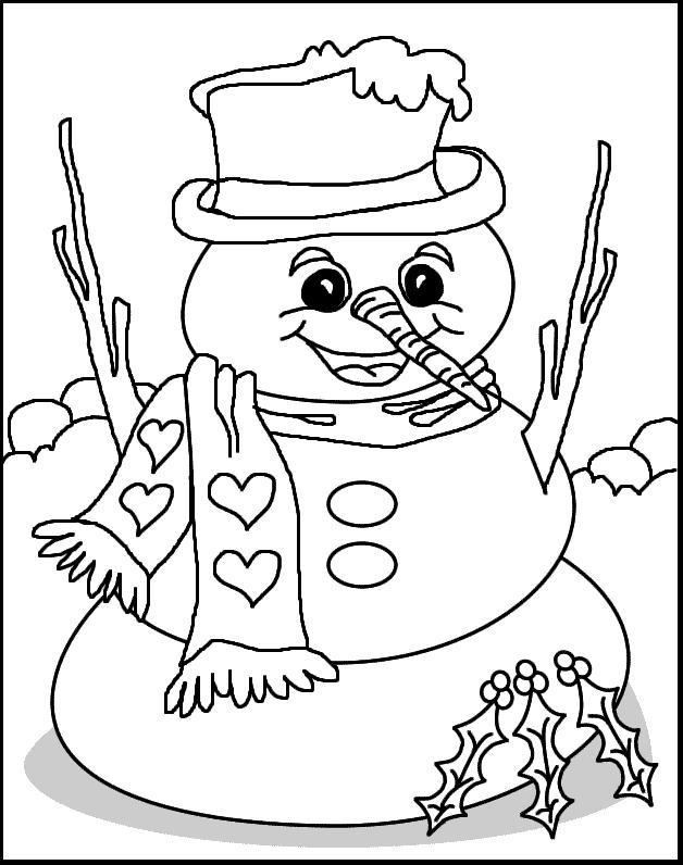 christmas full size coloring pages | Snowman Coloring Page